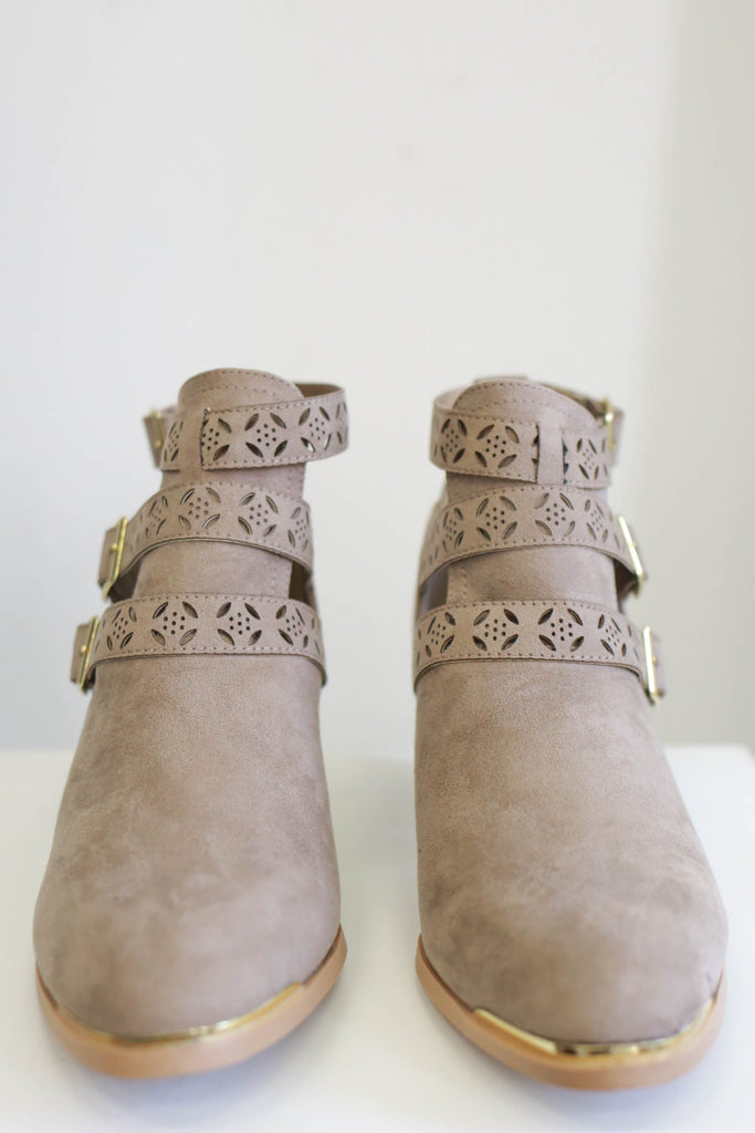 Faux Suede Almond Toe Buckle Accent Booties Travis-26
