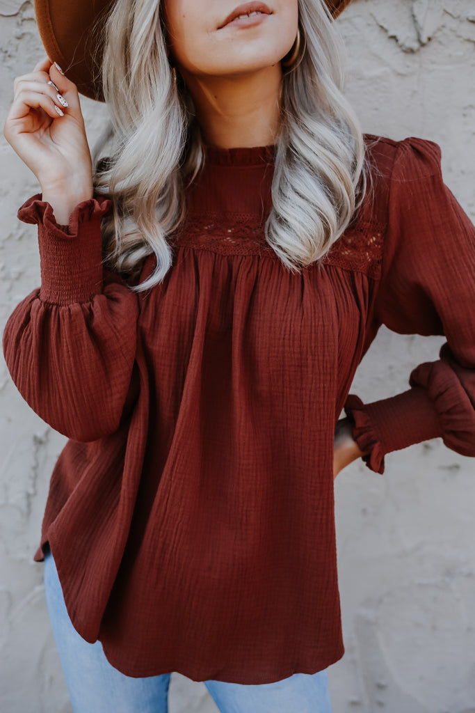 Long Balloon Sleeve Mock Neck Blouse | Stylish & Affordable | UOI Online