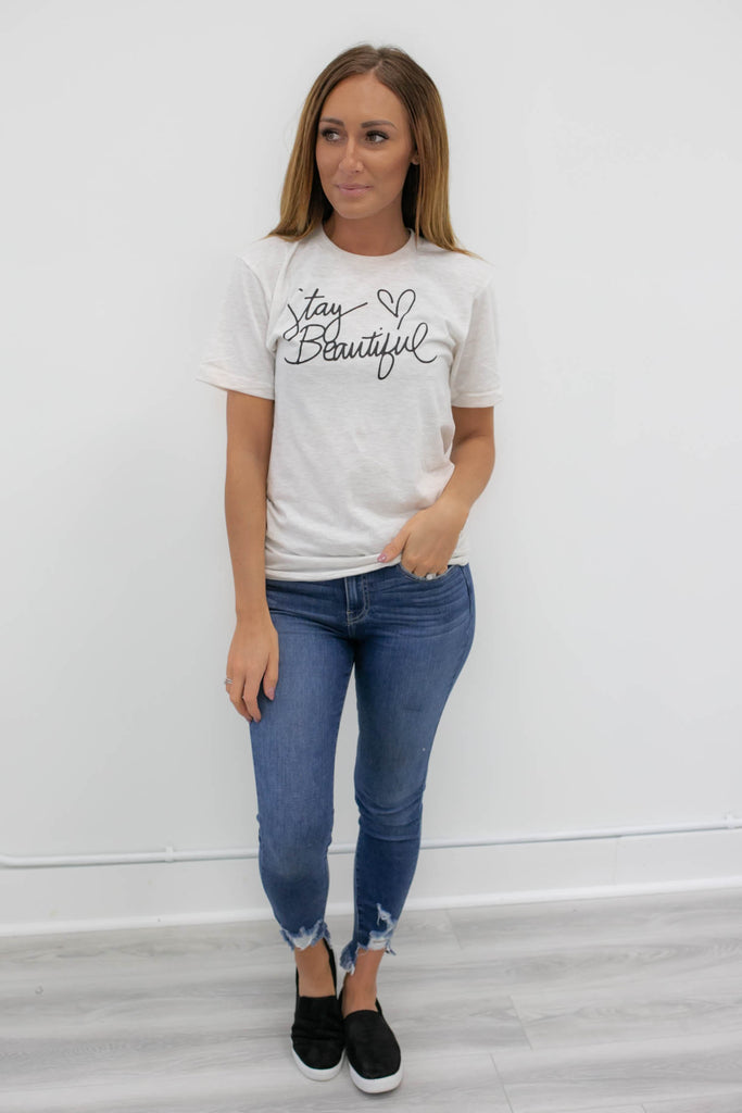 Round Neck Graphic Tee - Online Clothing Boutique