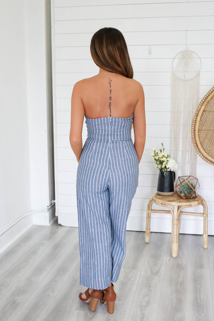 Strapless Striped Jumpsuit - Online Clothing Boutique