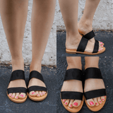 Black Faux Suede Open Toe Slide Sandals Allie-S