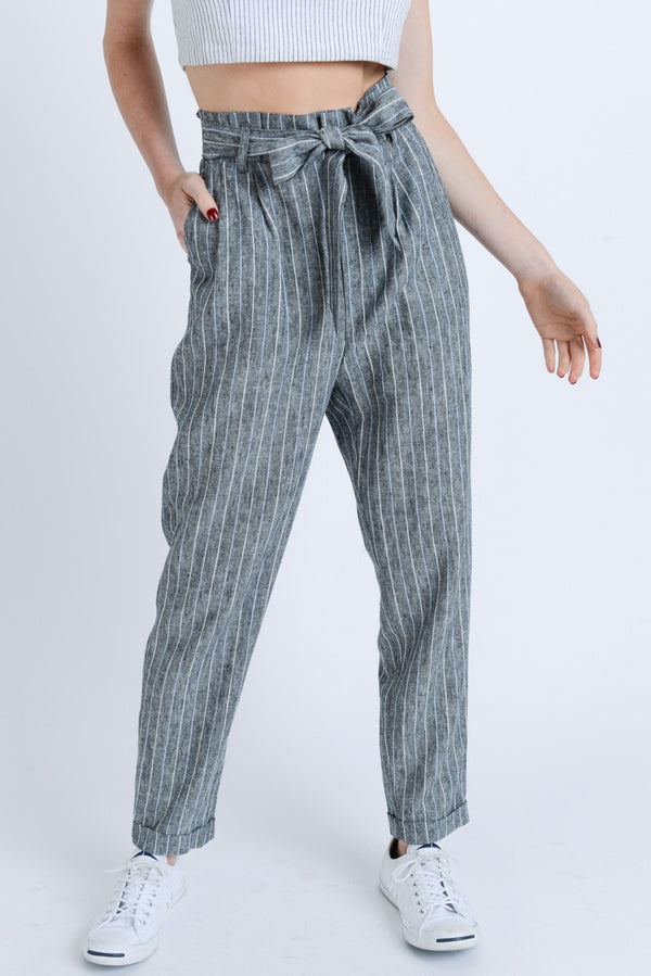 Striped Paper Bag Pants | Stylish & Affordable | UOI Online