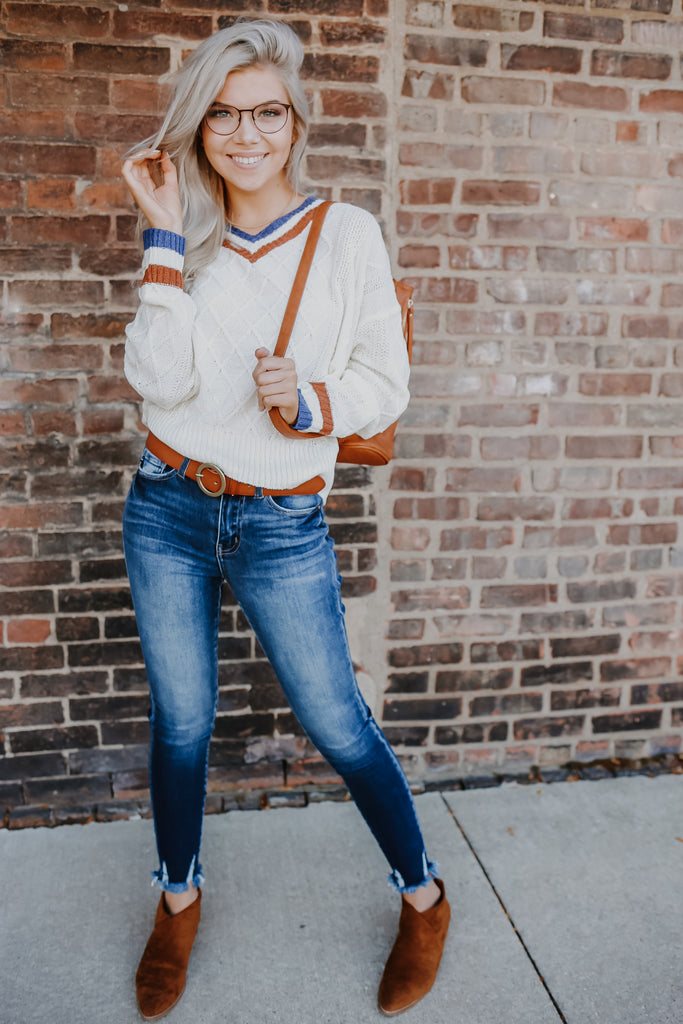 Varsity Striped Knit Sweater | Stylish & Affordable | UOI Online