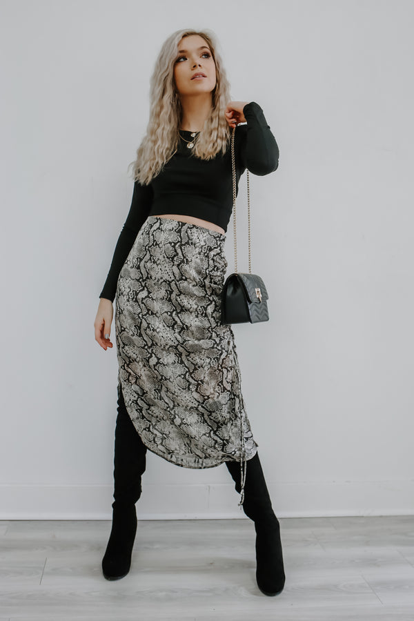 Snake Print Ruched Midi Skirt | Stylish & Affordable | UOI Online