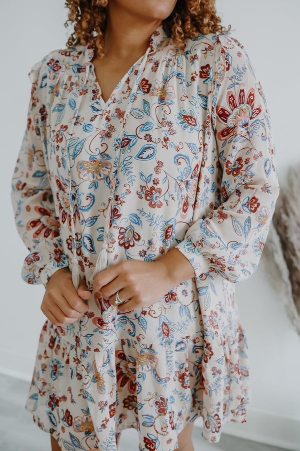 Long Sleeve Paisley Floral Dress Forum Dress | Stylish & Affordable | UOI Online