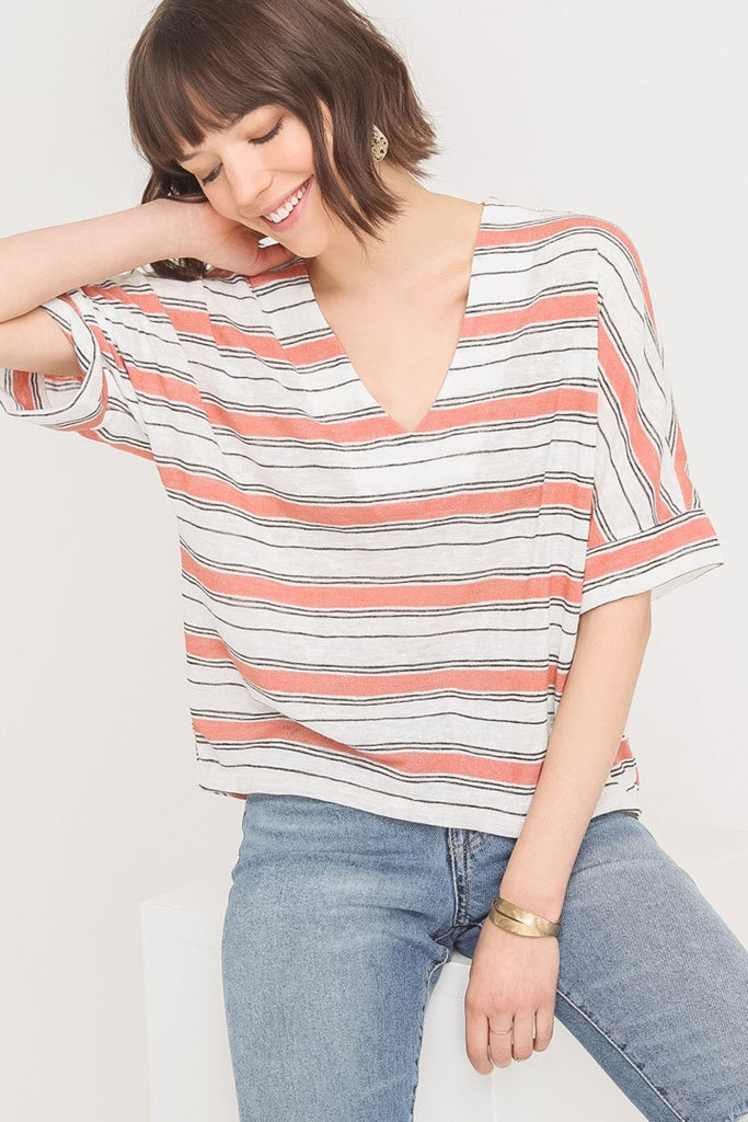 Striped Oversized Top - Online Clothing Boutique