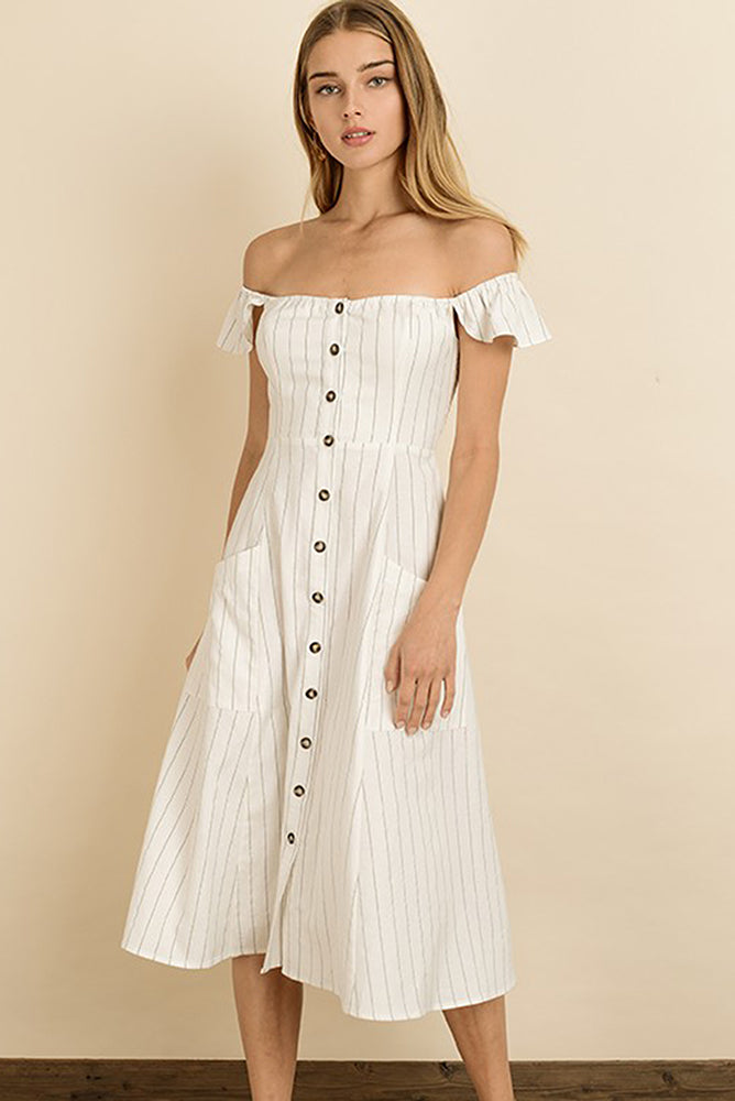 Striped Off the Shoulder Dress - Online Clothing Boutique