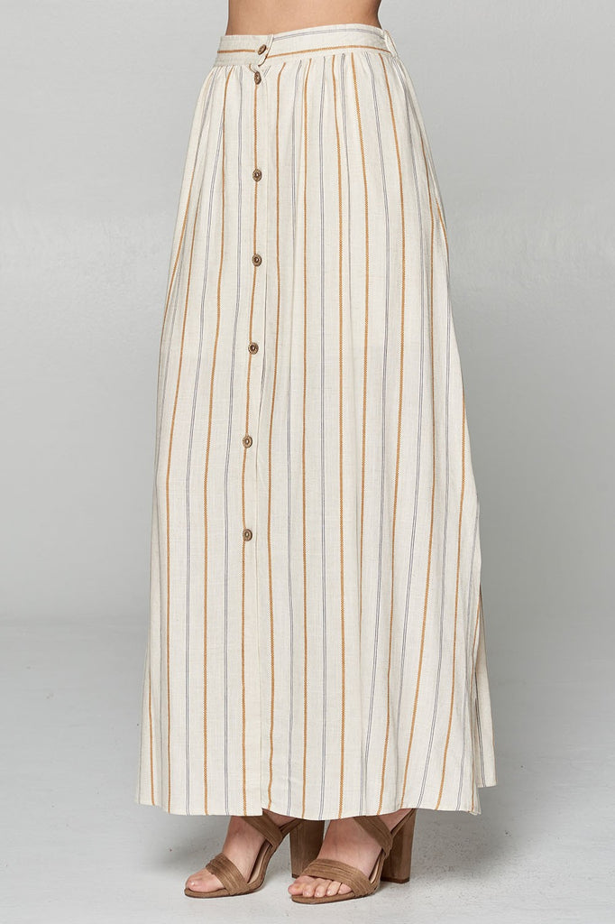 Striped Button Front Maxi Skirt - Online Clothing Boutique