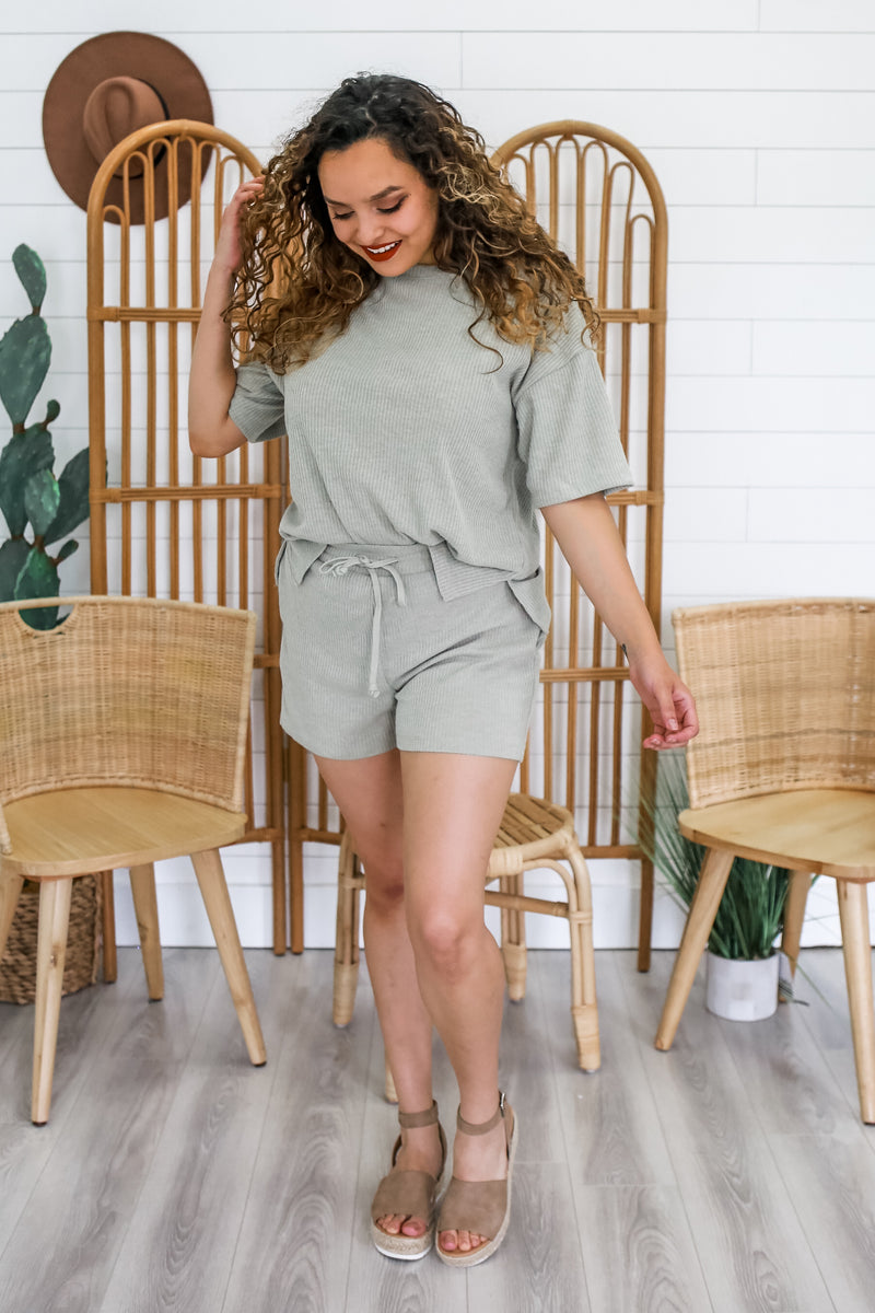 Ribbed Knit Two Piece Short Set | Stylish & Affordable | UOI Online