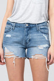 Mid Rise Distressed Denim Shorts - Online Clothing Boutique