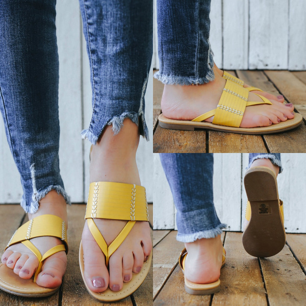 rattan-S Faux Leather Sandals - Online Clothing Boutique