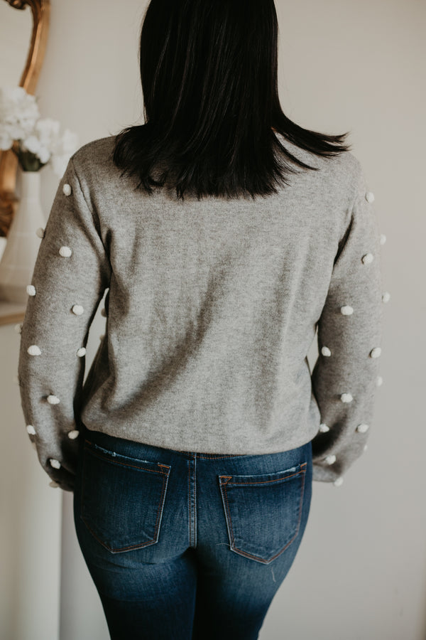 Long Balloon Sleeve Pom Pom Knit Sweater | Stylish & Affordable | UOI Online
