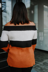 Bell Sleeve Color-Block Off The Shoulder Knit Sweater | Stylish & Affordable | UOI Online