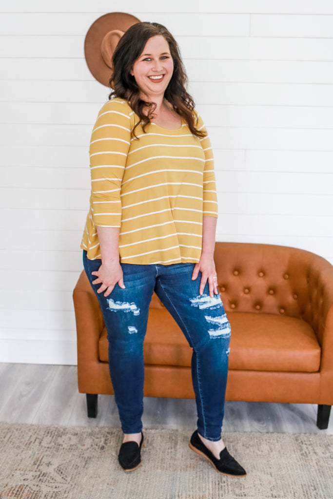 Plus Size Jersey Knit Striped Top | Stylish & Affordable | UOI Online