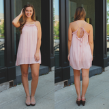 Blush Tassel Trim Self Tie Back Gauzy Trapeze Dress