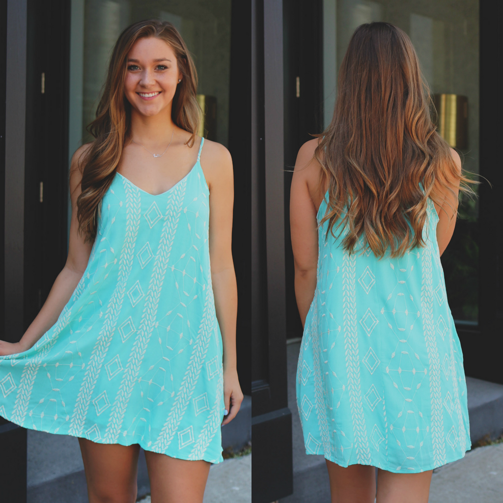 Mint V-neck Cami Strap Embroidered Trapeze Dress