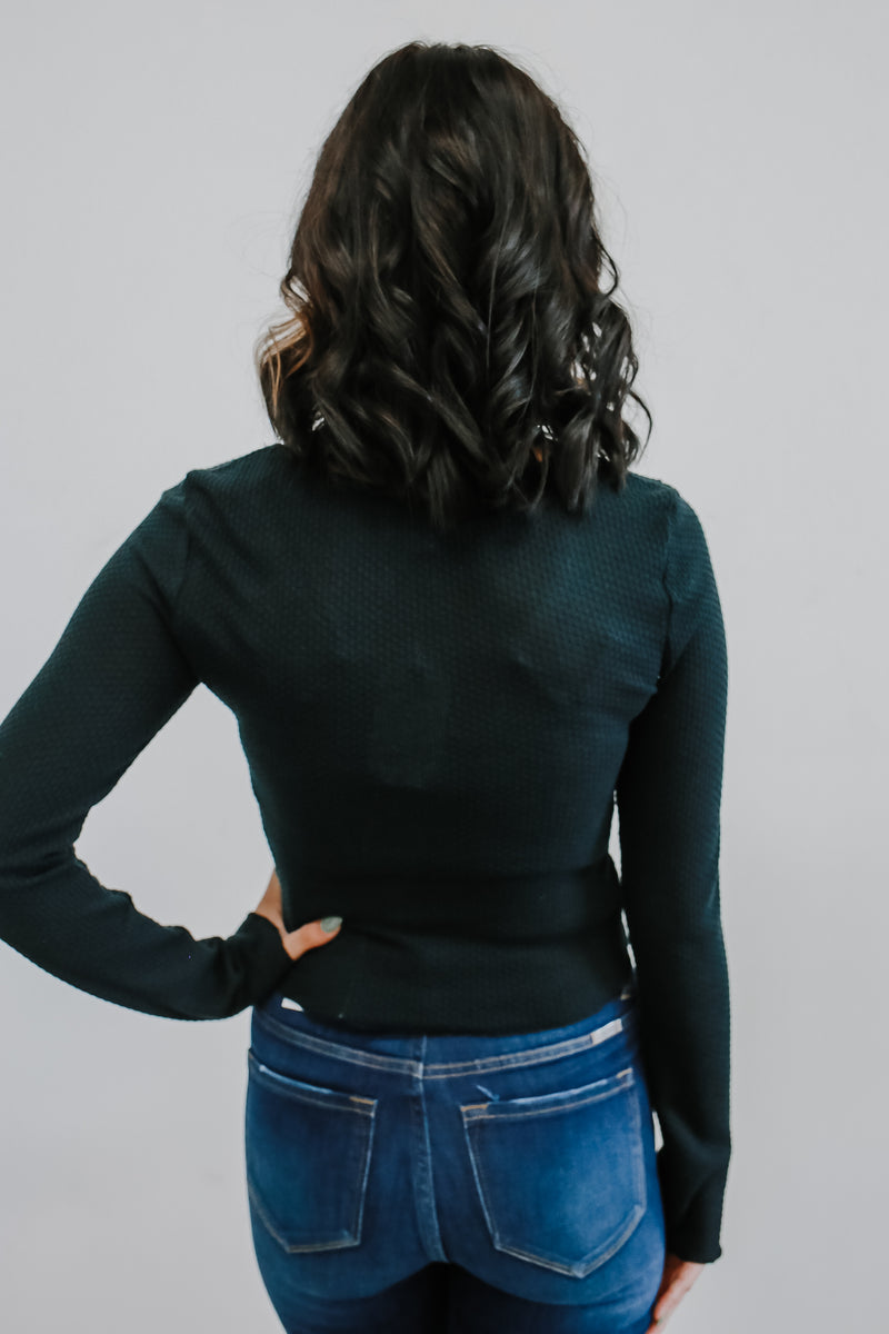 Long Sleeve Ruched Front Crop Top | Stylish & Affordable | UOI Online