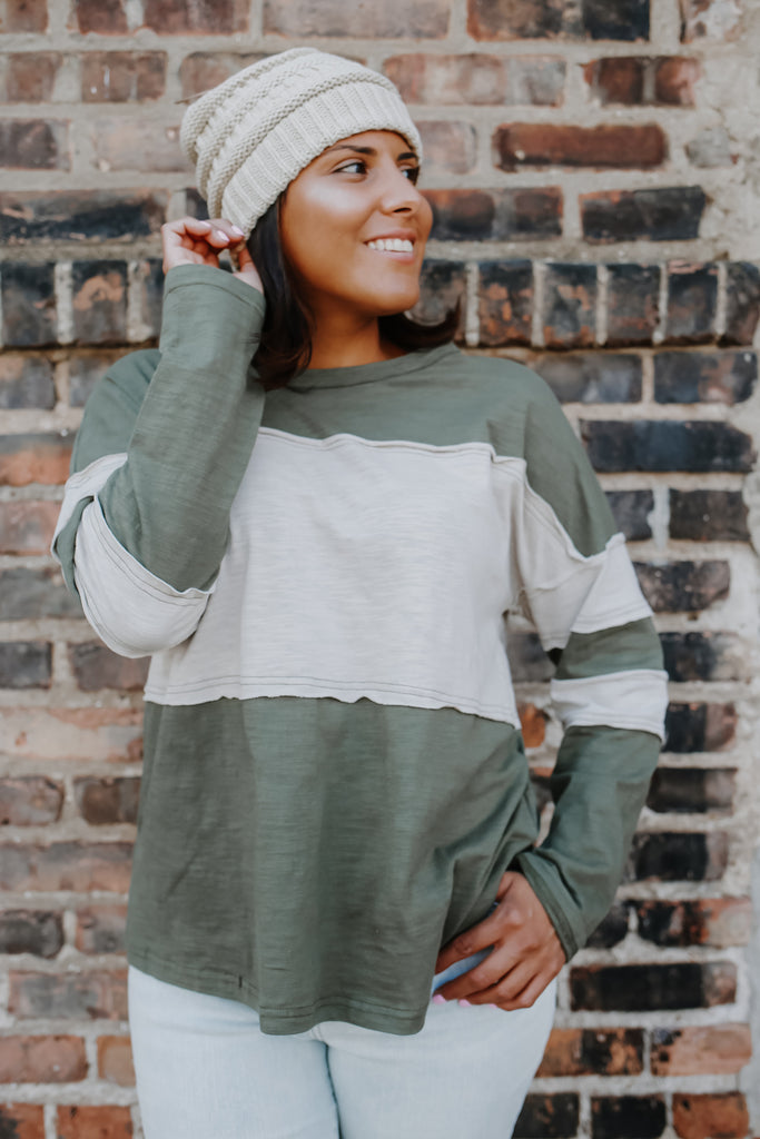 Long Sleeve Color Block Top | Stylish & Affordable | UOI Online