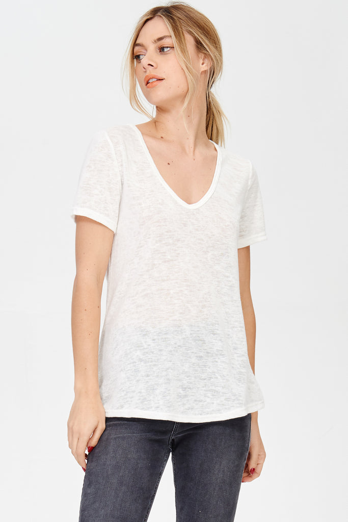 Short Sleeve V-Neck Tee - Online Clothing Boutique