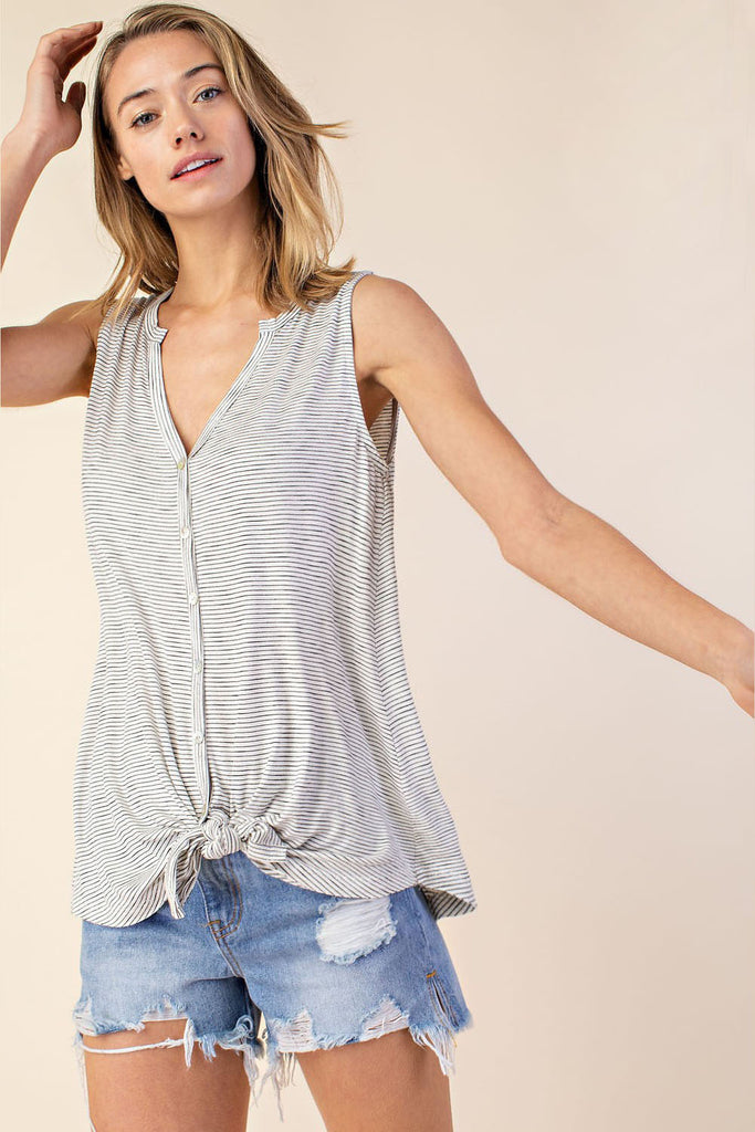 Striped Self Tie Tank Top - Online Clothing Boutique