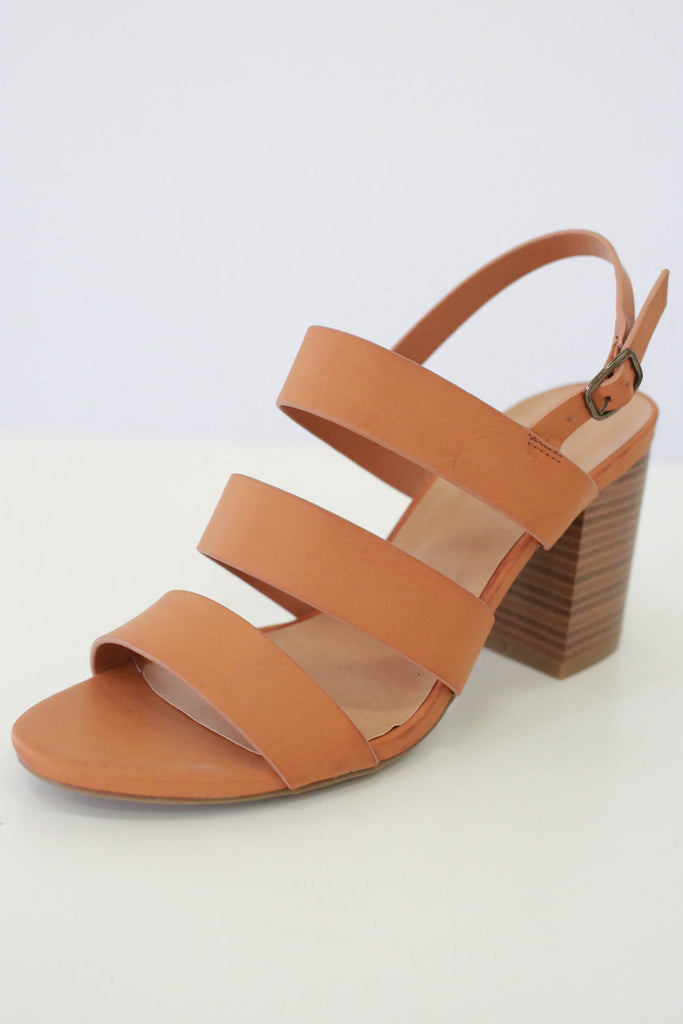 Strappy Faux Leather Heels - Online Clothing Boutique