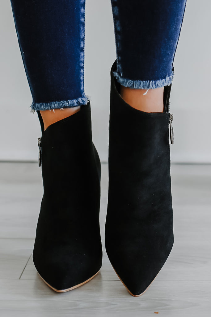 Faux Suede Pointed Toe Booties | Stylish & Affordable | UOI Online