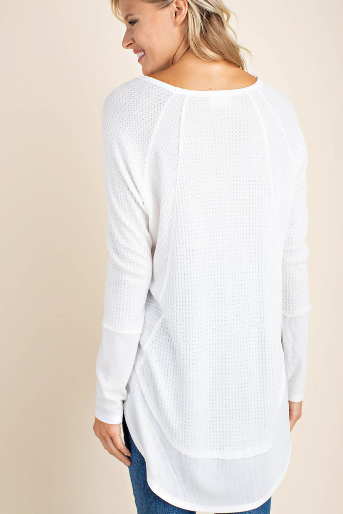 Long Sleeve High-Low Waffle Knit Top - Online Clothing Boutique