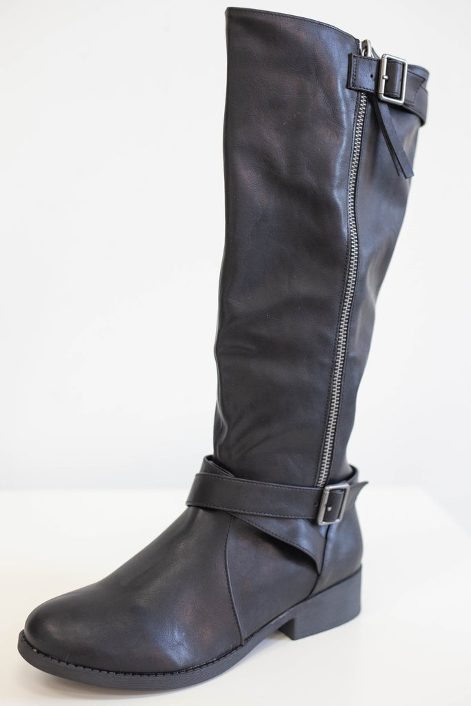 Faux Leather Riding Boots - Online Clothing Boutique