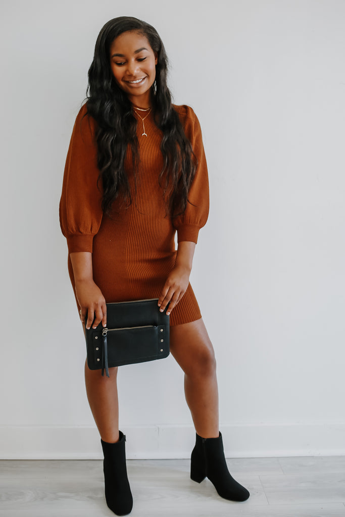 Long Balloon Sleeve Ribbed Bodycon Dress | Stylish & Affordable | UOI Online