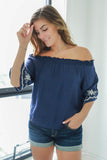 Embroidered Off The Shoulder Top - Online Clothing Boutique