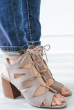 Beau-02A Lace Up Open Toe Booties - Online Clothing Boutique