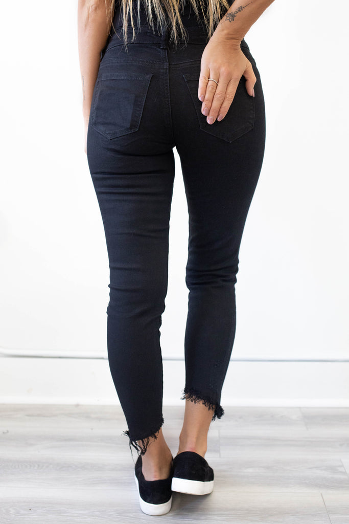Mid-Rise Skinny Fit Distressed Denim - Online Clothing Boutique