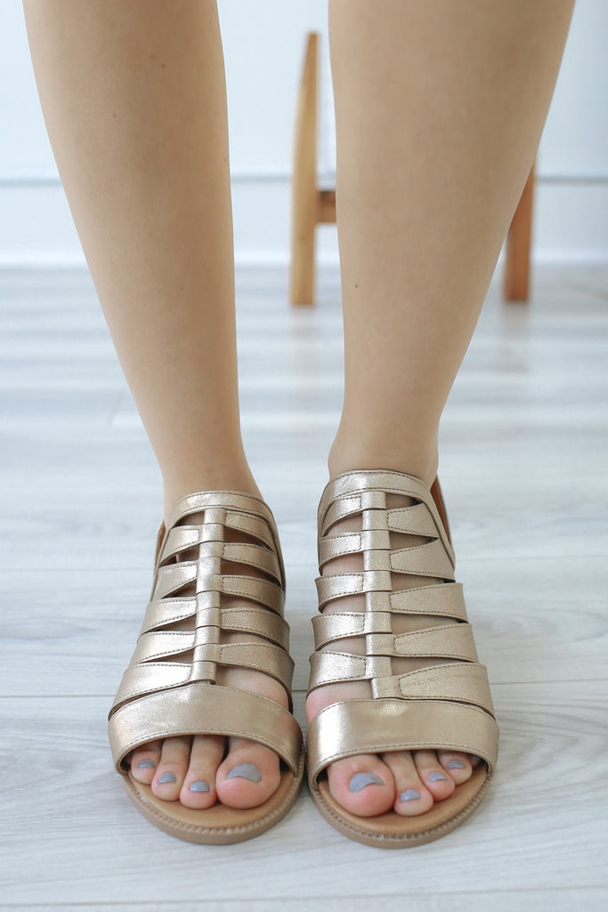 DESMOND-10 Metallic Open Toe Booties - Online Clothing Boutique