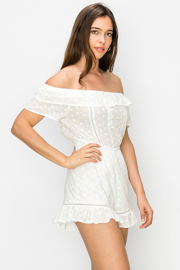 Lace Eyelet Romper - Online Clothing Boutique