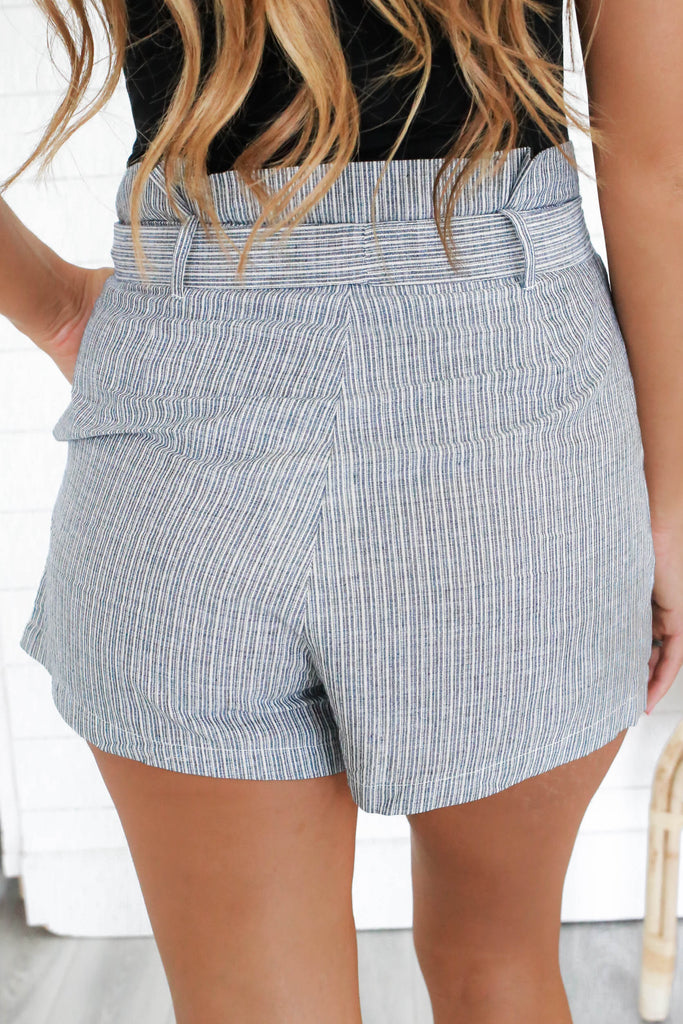 Striped Paper Bag Shorts - Online Clothing Boutique