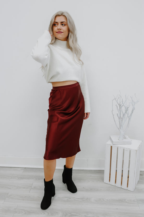 High Rise Satin Midi Skirt | Stylish & Affordable | UOI Online