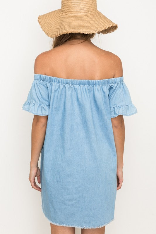 Off The Shoulder Chambray Dress - Online Clothing Boutique