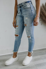 Mid Rise Distressed Skinny Fit KanCan Denim | Stylish & Affordable | UOI Online