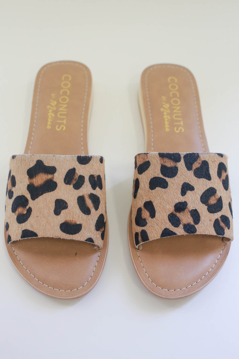 Leopard Print Slip On Sandals - Online Clothing Boutique