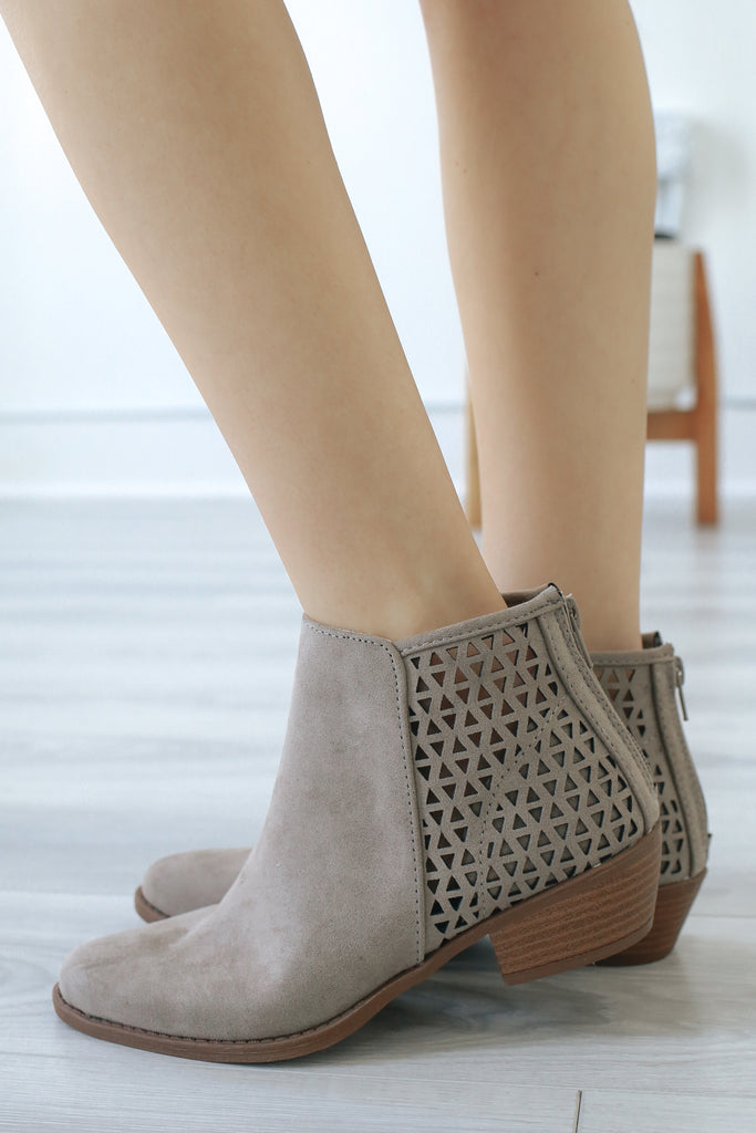 SOCHI-156 Faux Suede Ankle Booties - Online Clothing Boutique