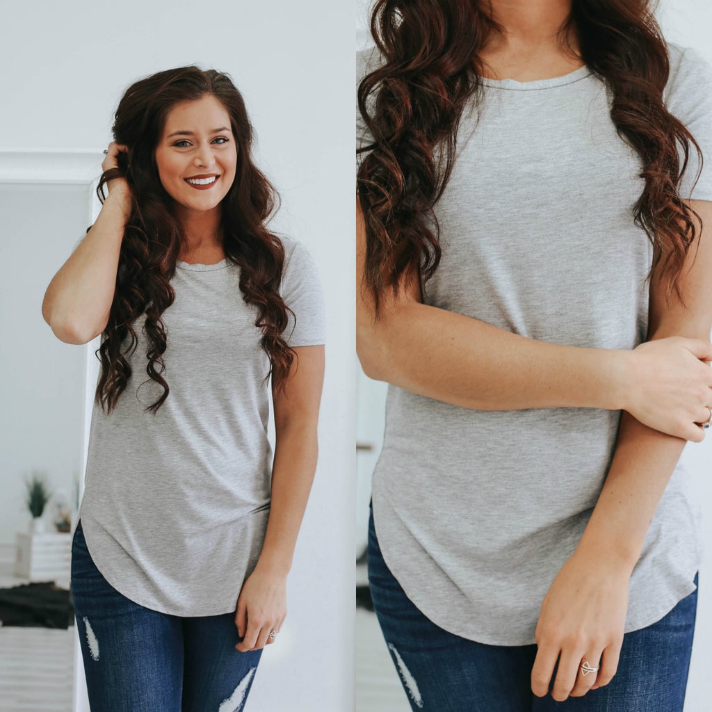 Heather Grey Short Sleeve Tee - Online Clothing Boutique