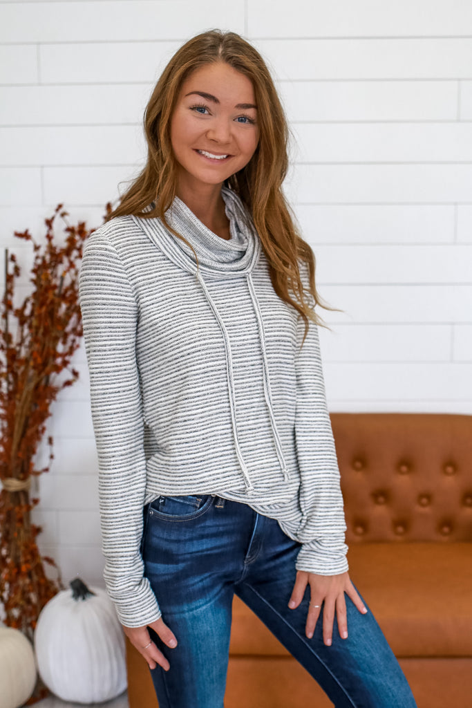 Cowl Neck Striped Knit Top | Stylish & Affordable | UOI Online