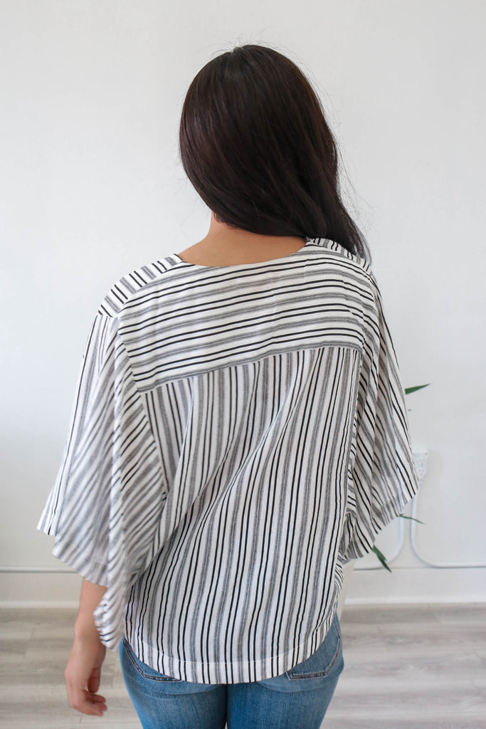 Striped Faux Wrap Top - Online Clothing Boutique