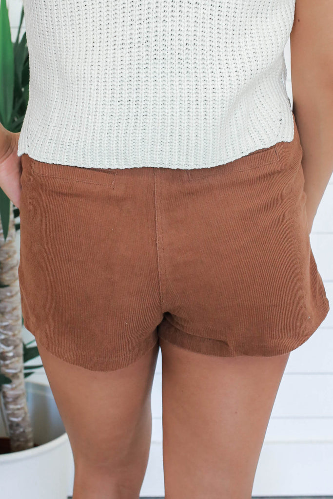 High Rise Corduroy Shorts - Online Clothing Boutique