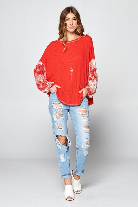 Printed Balloon Sleeve Top - Online Clothing Boutique