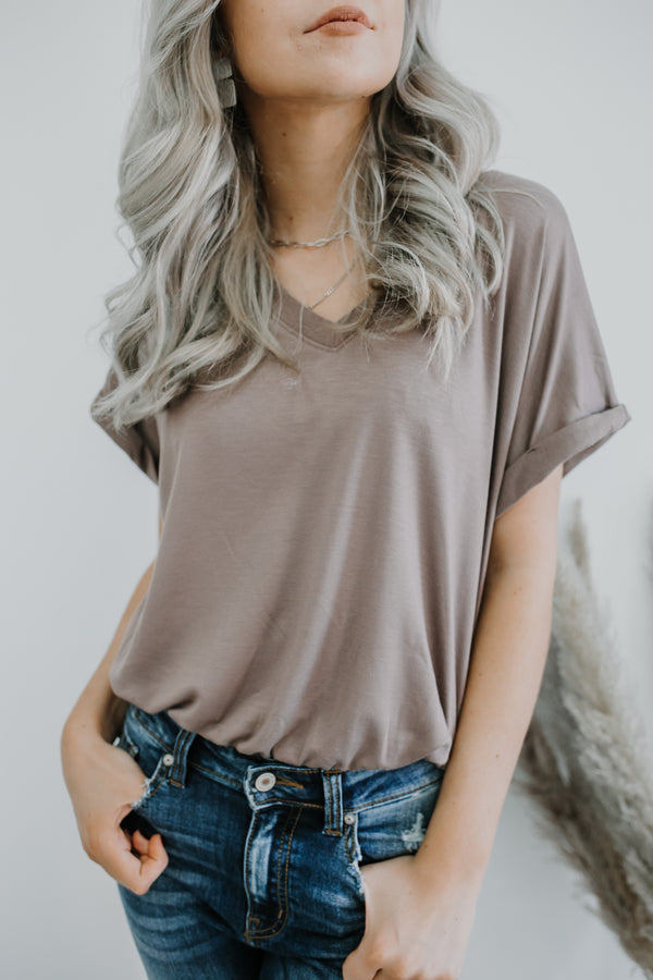 Rolled Sleeve V Neck Bodysuit | Stylish & Affordable | UOI Online