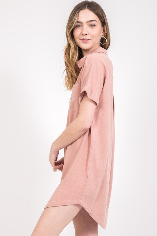 Button Down T-Shirt Dress - Online Clothing Boutique
