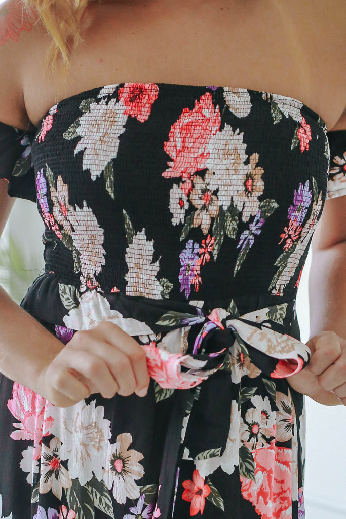 Off The Shoulder Floral Maxi Dress - Online Clothing Boutique