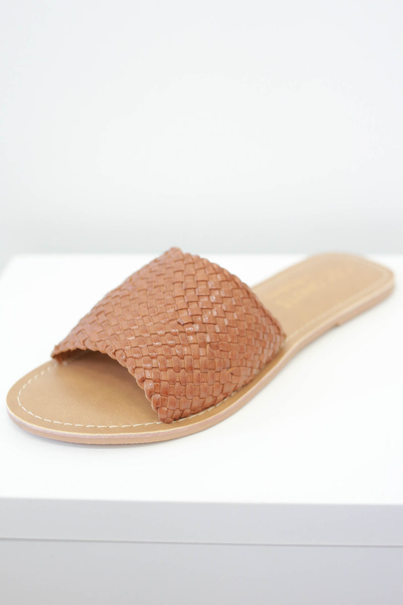 Woven Slip On Sandals - Online Clothing Boutique