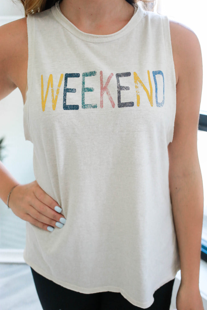 Weekend Graphic Muscle Tank - Online Clothing Boutique